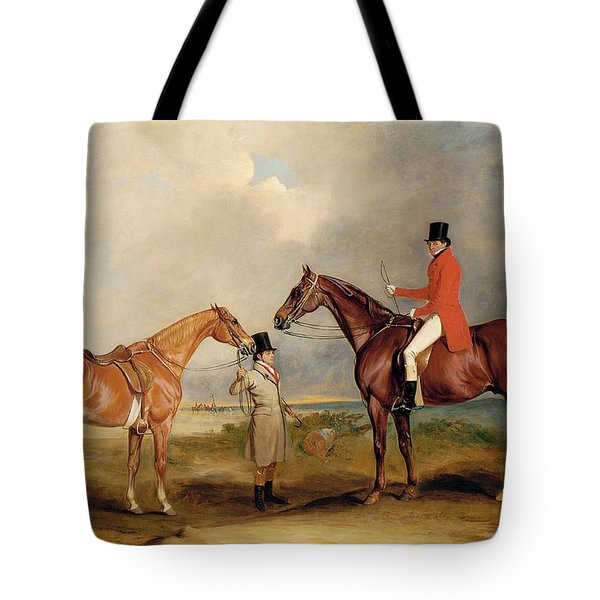 Portrait Of John Drummond On A Hunter With A Groom Holding His Second Horse Tote Bag by John E Ferneley