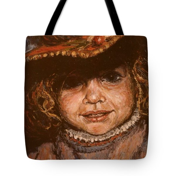 Tote Bag featuring the painting Portrait Of Leticia by Walter Casaravilla