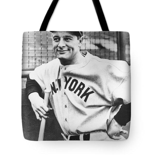 Portrait Of Lou Gehrig Tote Bag