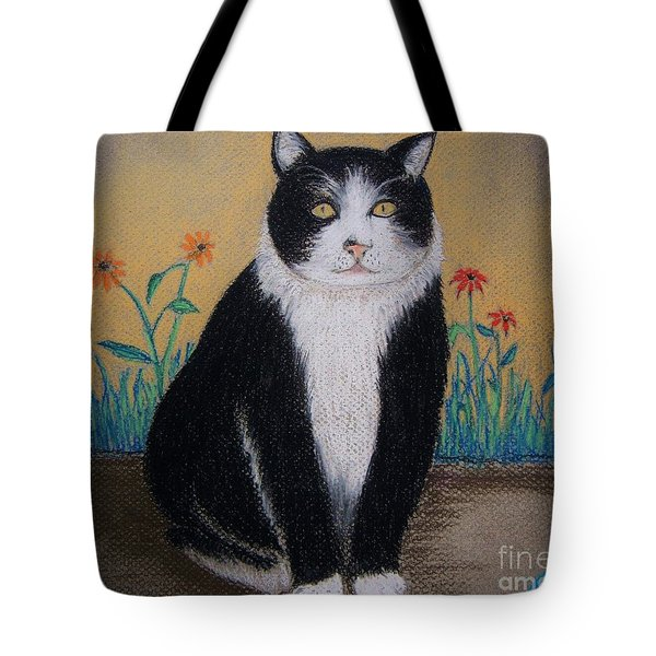 Portrait Of Teddy The Ninja Cat Tote Bag by Reb Frost