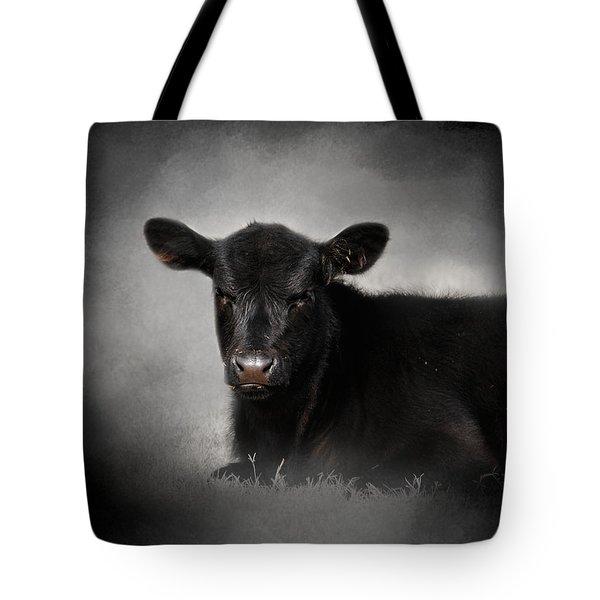Portrait Of The Black Angus Calf Tote Bag by Jai Johnson