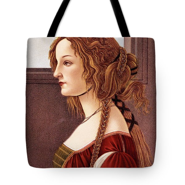 Portrait Of Young Woman By Botticelli Tote Bag