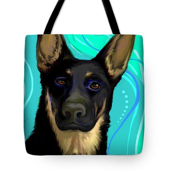 Tote Bag featuring the digital art Portrait Of A German Shepherd Dog by Karon Melillo DeVega