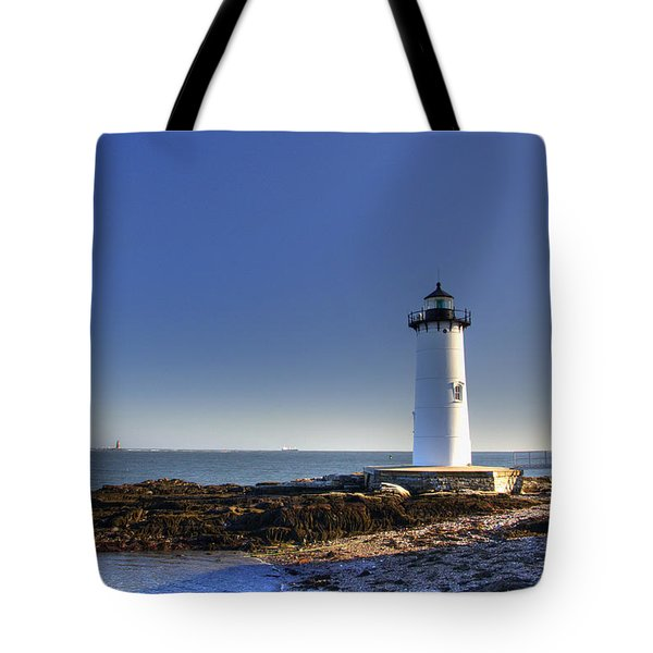 Portsmouth And The Whaleback Tote Bag by Joann Vitali