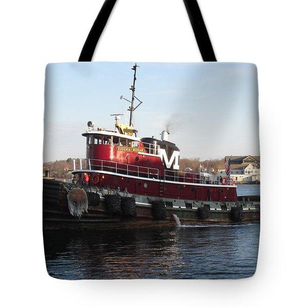 Portsmouth Harbor Tug Boat Winter Tote Bag