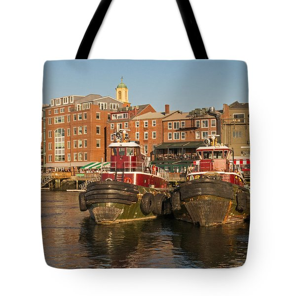 Portsmouth Harbor With Tugboats Tote Bag