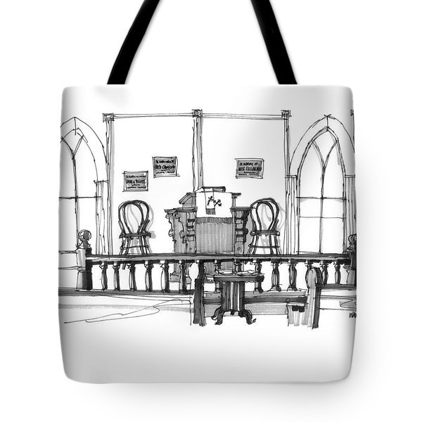 Tote Bag featuring the drawing Portsmouth Island Chapel 1970s by Richard Wambach