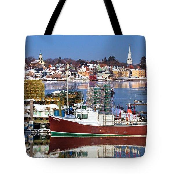 Portsmouth Lobster Boat Tote Bag