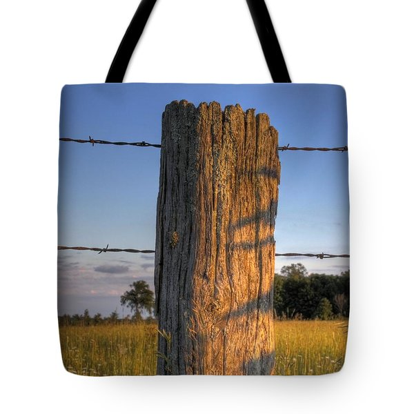 Post And Barb Wire Tote Bag by Larry Capra