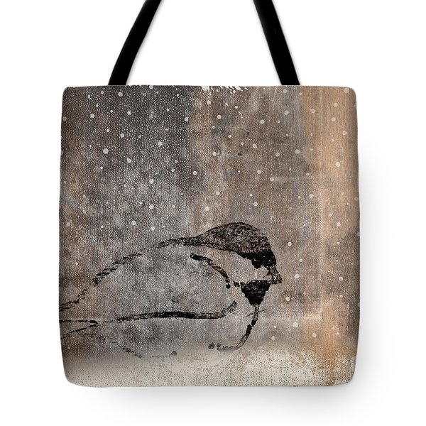 Postcard Chickadee In The Snow Tote Bag