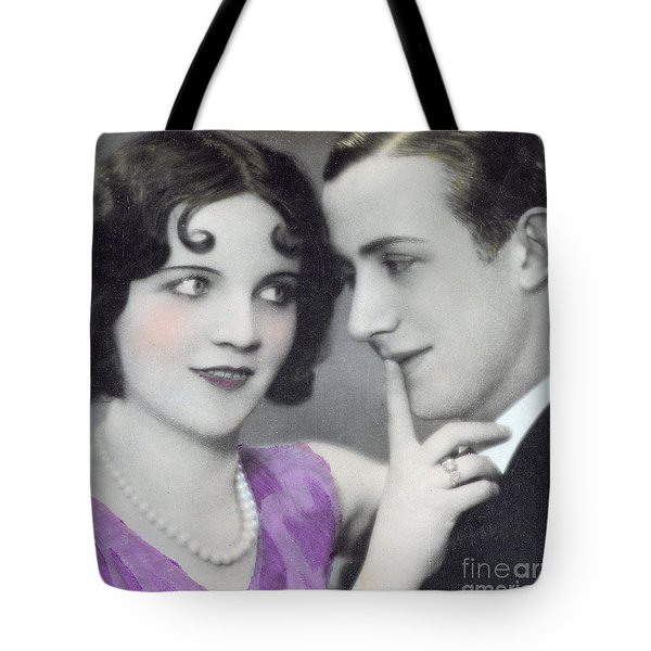 Postcard Depicting Two Lovers Tote Bag