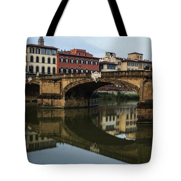 Postcard From Florence - Arno River And Ponte Santa Trinita  Tote Bag