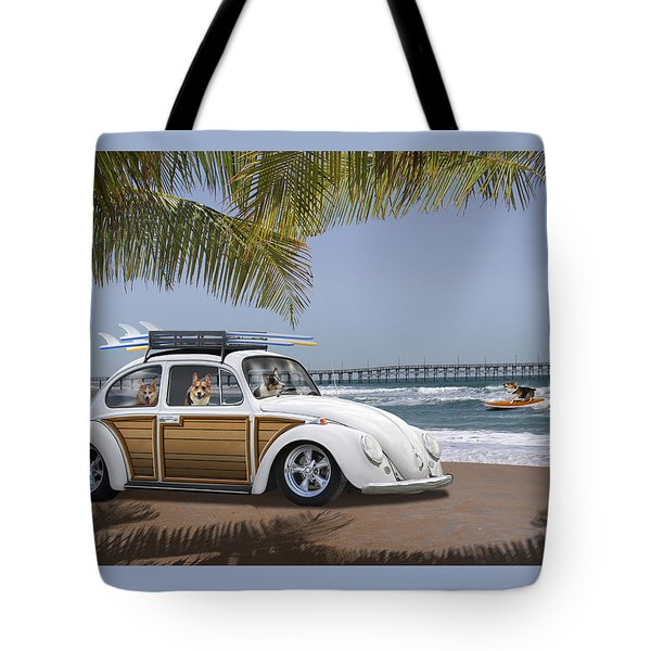 Postcards From Otis - Beach Corgis Tote Bag by Mike McGlothlen