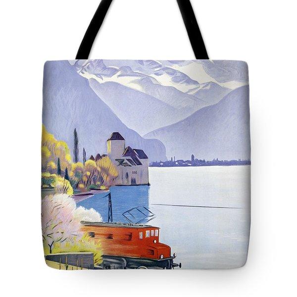 Poster Advertising Rail Travel Around Lake Geneva Tote Bag by Emil Cardinaux