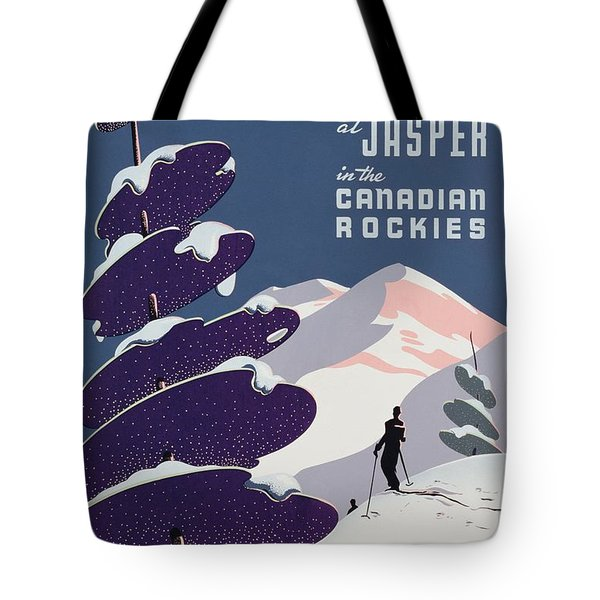 Poster Advertising The Canadian Ski Resort Jasper Tote Bag