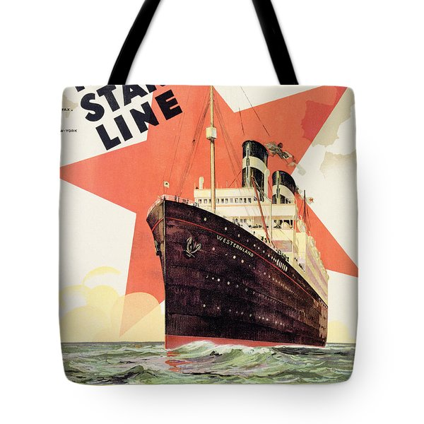 Poster Advertising The Red Star Line Tote Bag by Belgian School