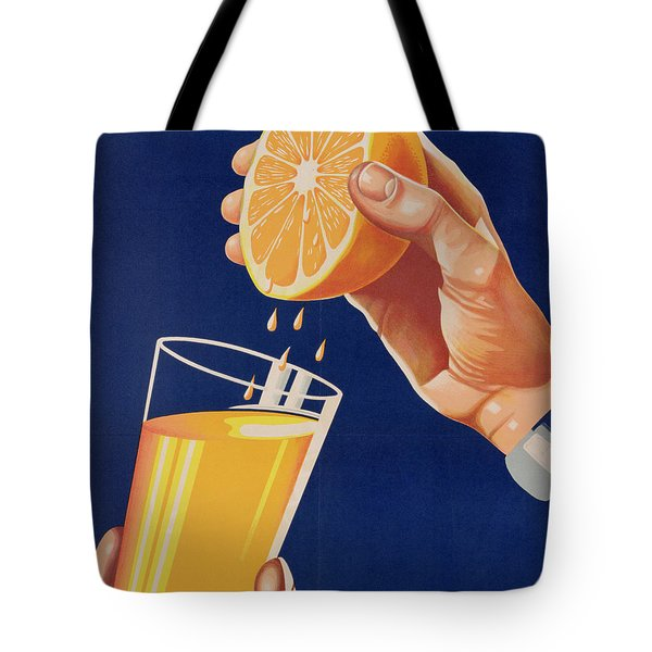 Poster With A Glass Of Orange Juice Tote Bag