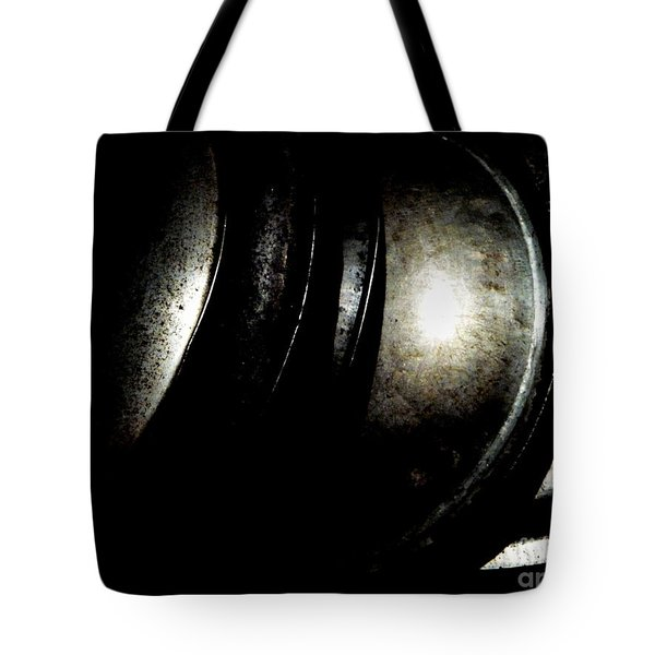 Tote Bag featuring the photograph Pot Lids by Newel Hunter