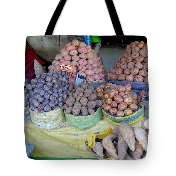 Potato Rainbow Tote Bag by Lew Davis