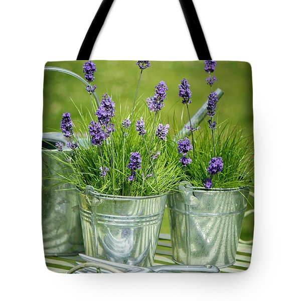 Pots Of Lavender Tote Bag by Amanda Elwell