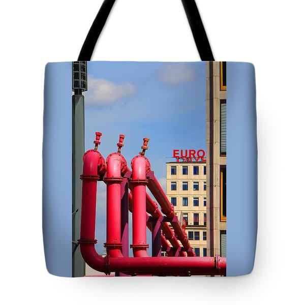 Potsdamer Platz Pink Pipes In Berlin Tote Bag by Ben and Raisa Gertsberg