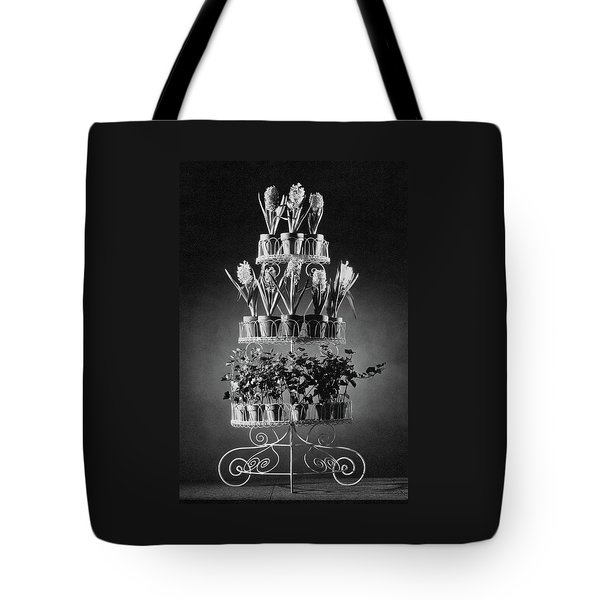 Potted Flowers On A Wrought Iron Stand Tote Bag