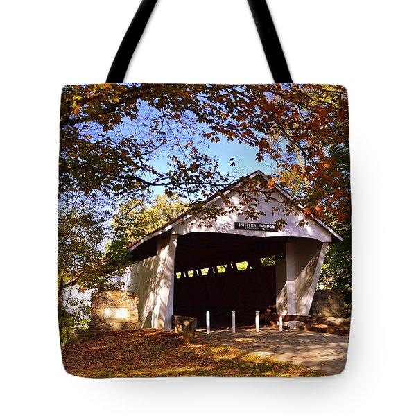 Potter's Bridge In Fall Tote Bag