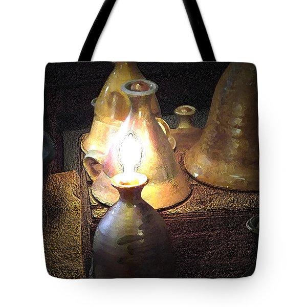 Pottery Oil Lamp  Tote Bag