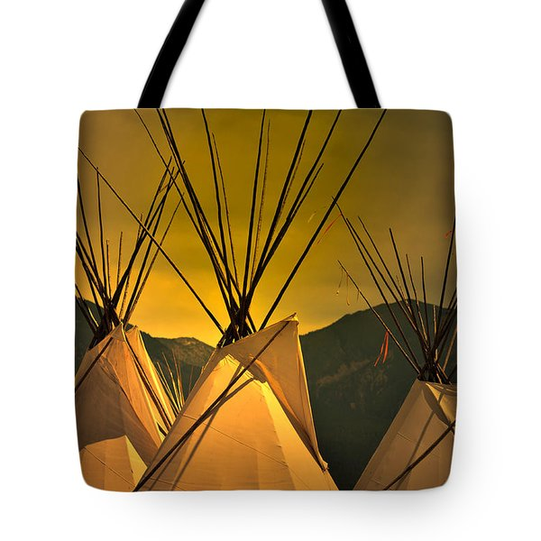 Pow Wow Camp At Sunrise Tote Bag by Kae Cheatham