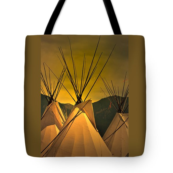 Pow Wow Camp At Sunrise Tote Bag