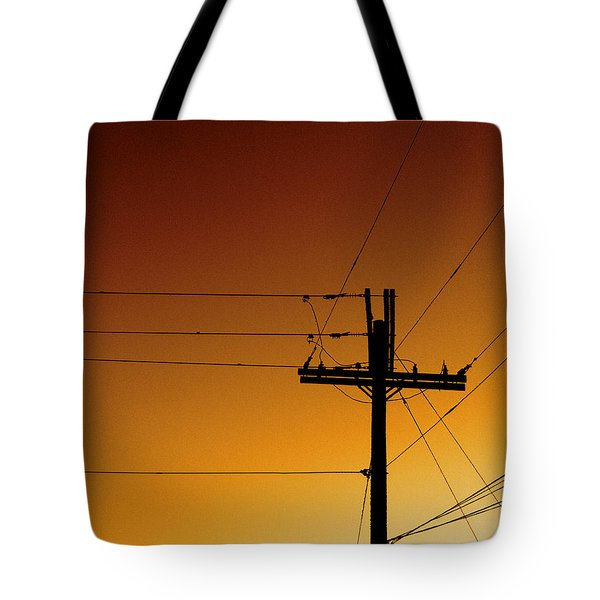 Power Line Sunset Tote Bag