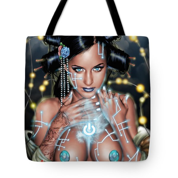 Tote Bag featuring the painting Power by Pete Tapang