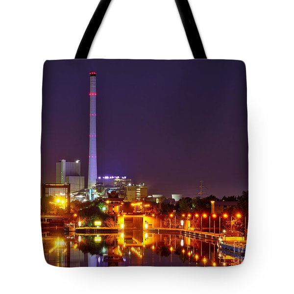 Powerhouse In A Sea Of Lights Tote Bag by Daniel Heine