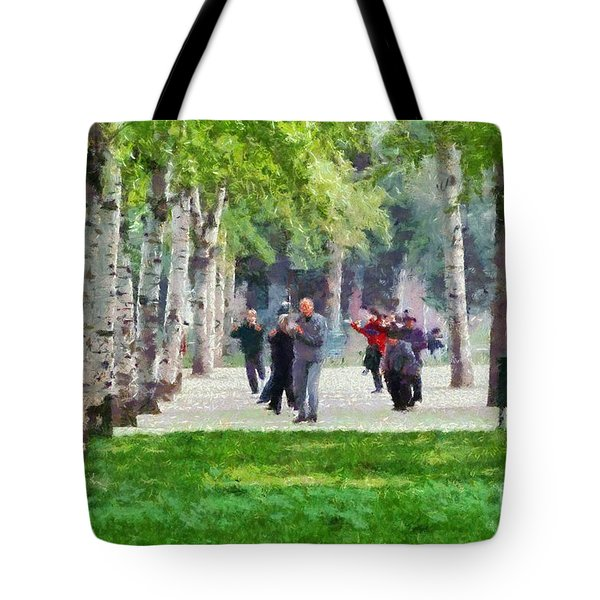 Practicing Martial Arts Tote Bag by George Atsametakis