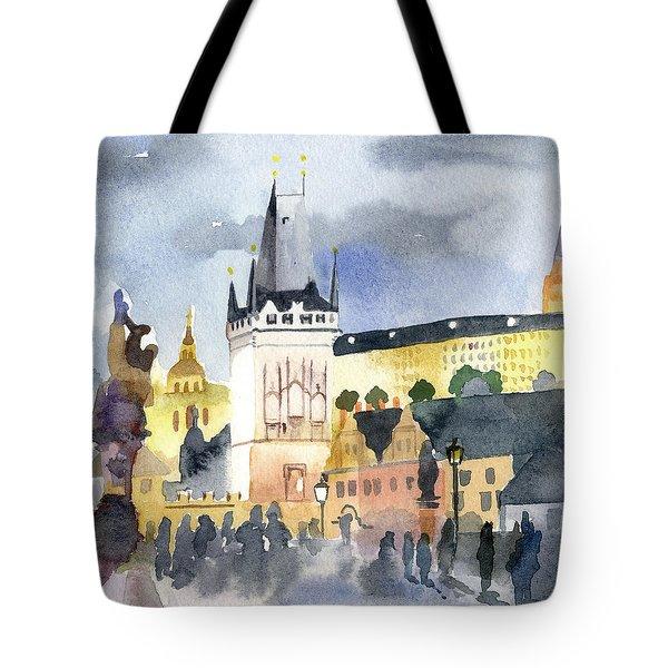 Prague At Night Tote Bag