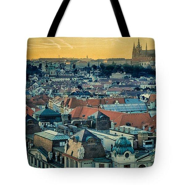 Prague Castle Sunset Tote Bag by Joan Carroll