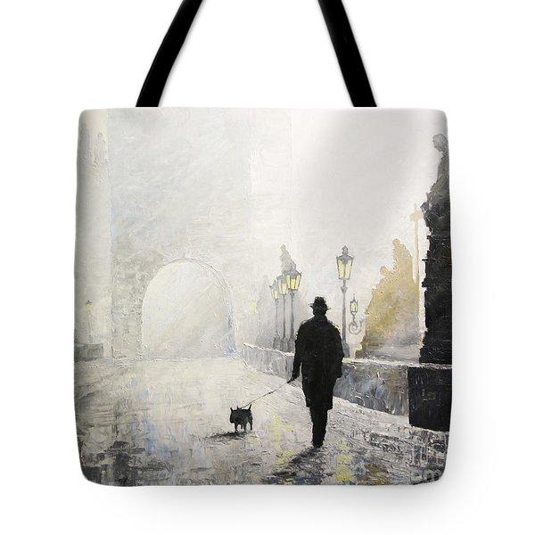 Prague Charles Bridge Morning Walk 01 Tote Bag by Yuriy Shevchuk