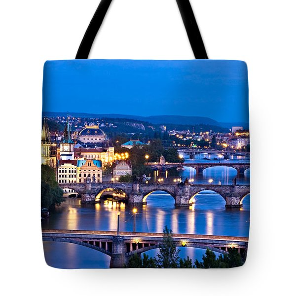 Prague Cityscape At Night Tote Bag