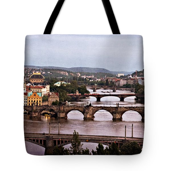 Prague Cityscape - Texture Tote Bag by Barry O Carroll