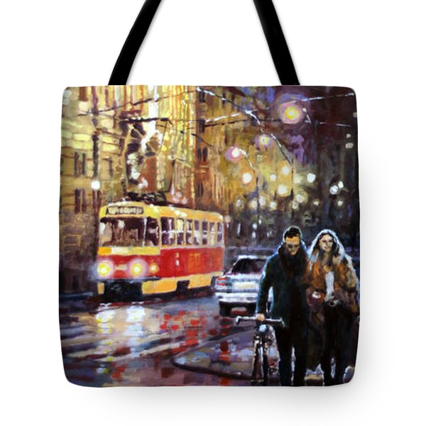 Prague Masarykovo Nabrezi Evening Walk Tote Bag