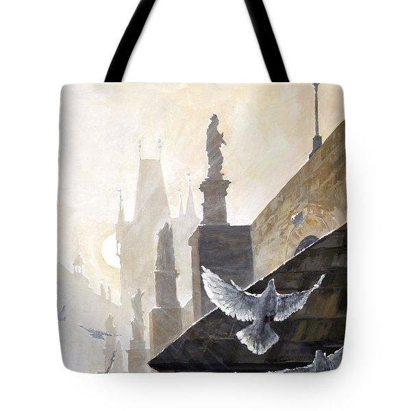 Prague Morning On The Charles Bridge  Tote Bag by Yuriy Shevchuk