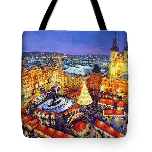 Prague Old Town Square Christmas Market 2014 Tote Bag by Yuriy Shevchuk