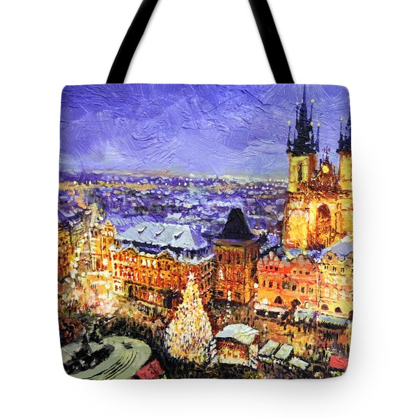 Prague Old Town Square Christmas Market Tote Bag