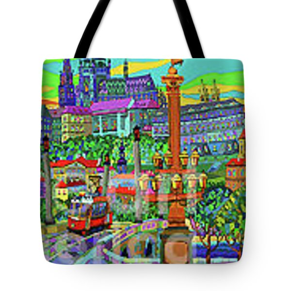 Prague Panorama With Manesuv Bridge Tote Bag