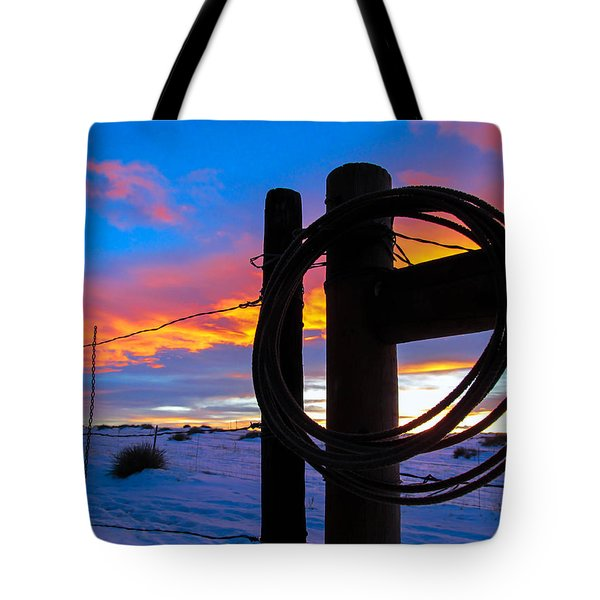 Prairie Fence Sunset Tote Bag