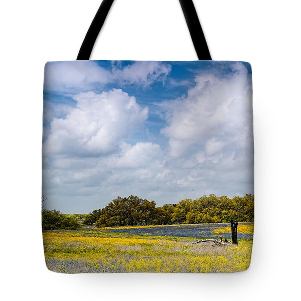 Prairies And Rolling Meadows Of Texas In Springtime - Wildflowers Blooming In Stockdale Tote Bag