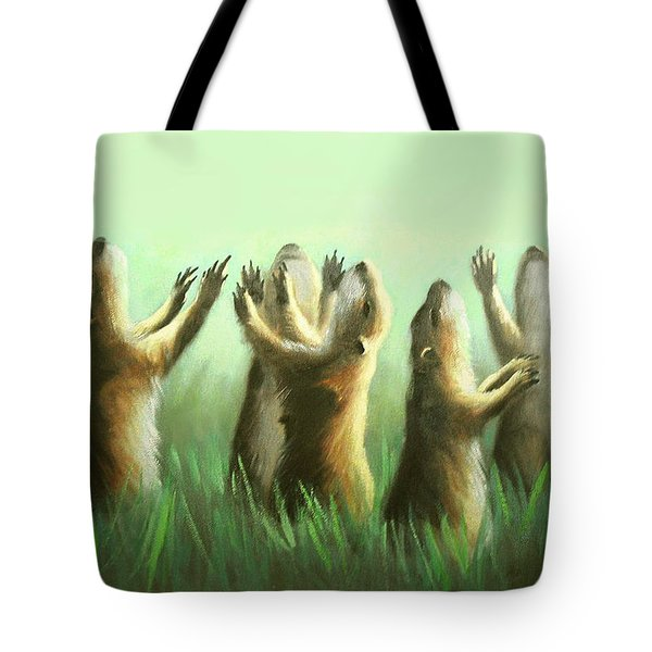 Tote Bag featuring the painting Praising Prairie Dogs by Anthony Falbo