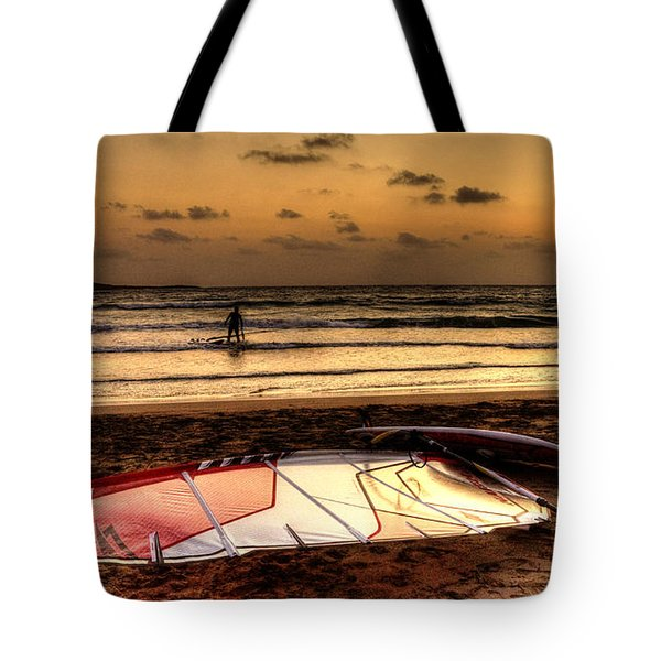 Tote Bag featuring the photograph Prasonisi - A Day Of Windsurfing Is Over by Julis Simo