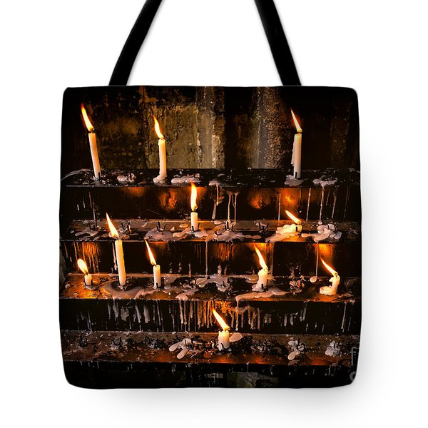 Prayer Candles Tote Bag by Adrian Evans
