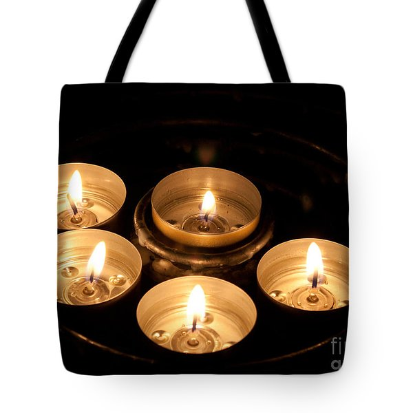 Prayer Candles In Notre Dame Tote Bag